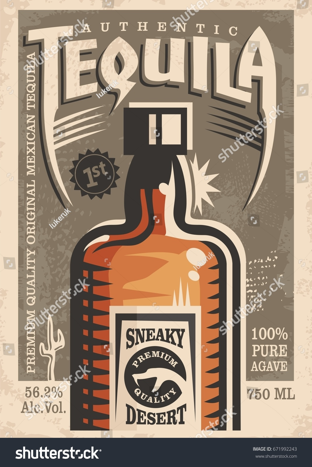 tequila promotional retro poster design vintage stock vector 671992243 shutterstock. Black Bedroom Furniture Sets. Home Design Ideas