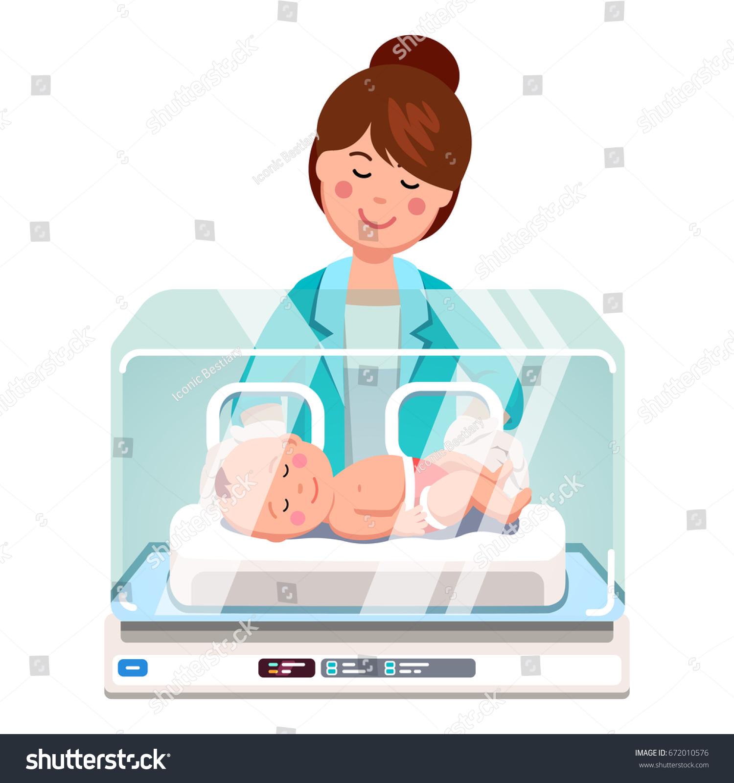 Pediatrician Doctor Woman Nurse Examining Little Stock