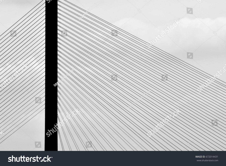 Pattern Wire Rope Suspension Bridge Silhouette Stock Photo (Edit Now ...