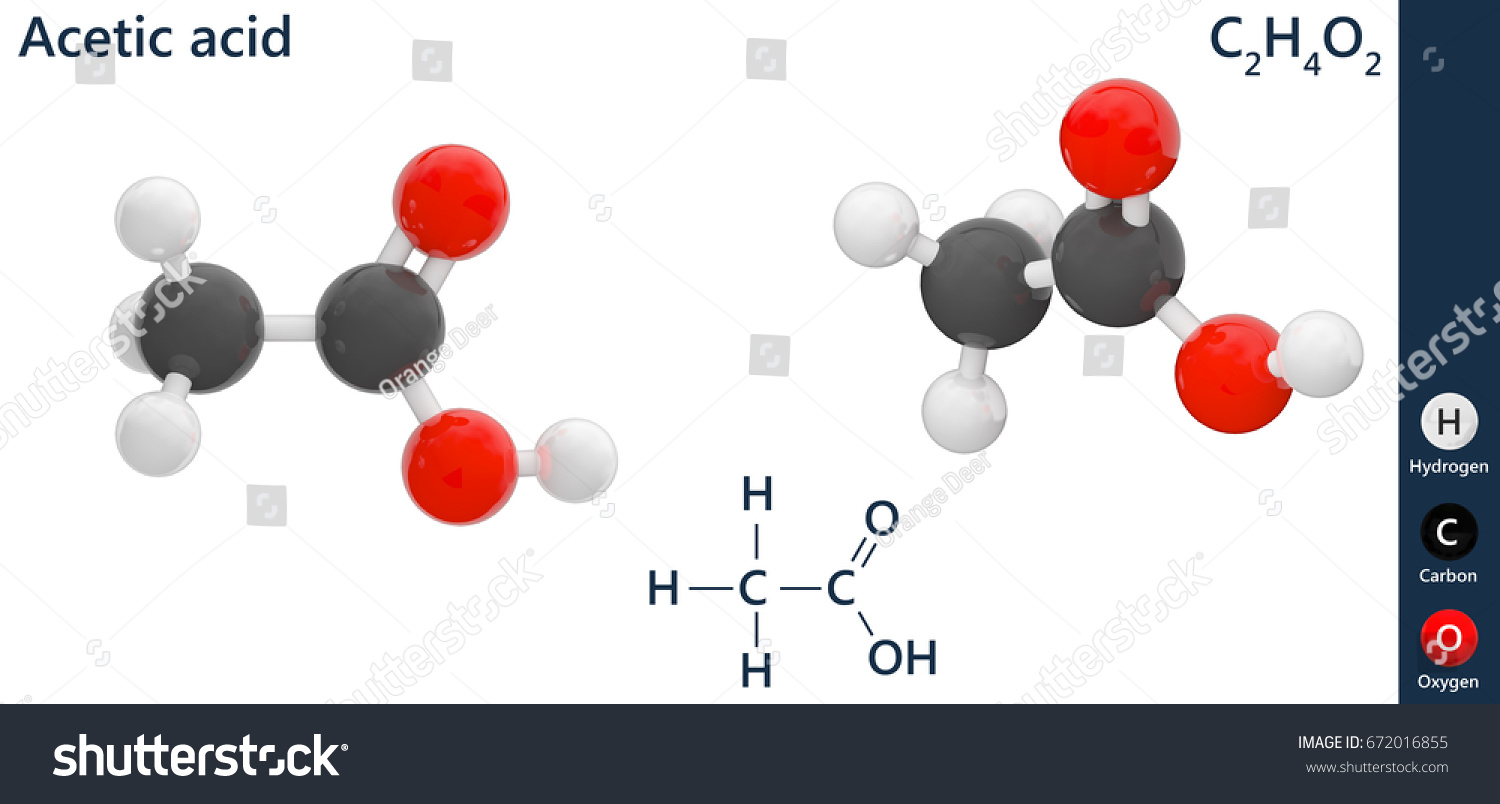 Structural chemical formula molecular structure acetic stock structural chemical formula and molecular structure of acetic acid c2h4o2 3d illustration isolated biocorpaavc