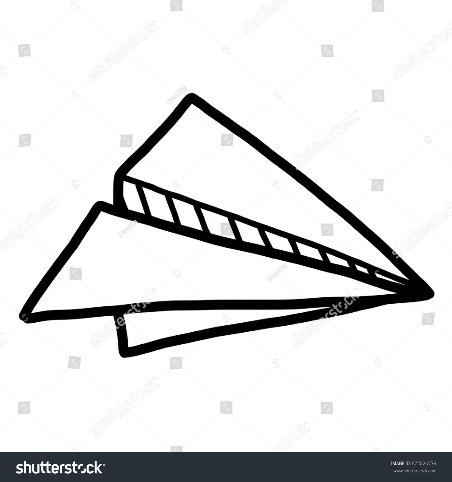Paper Airplane Cartoon Vector Illustration Black Stock Vector