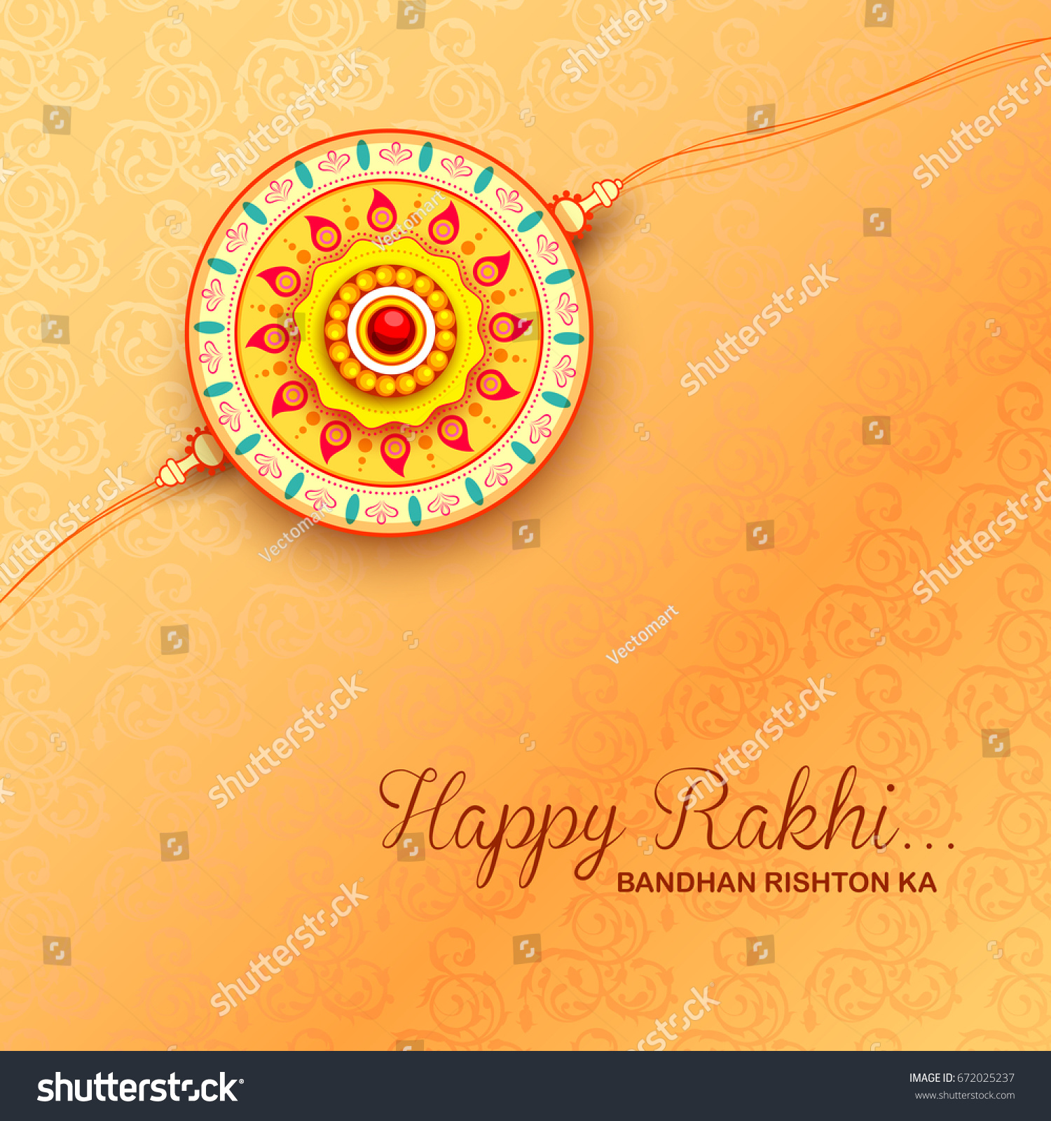 Illustration Greeting Card Decorative Rakhi Raksha Stock Vector