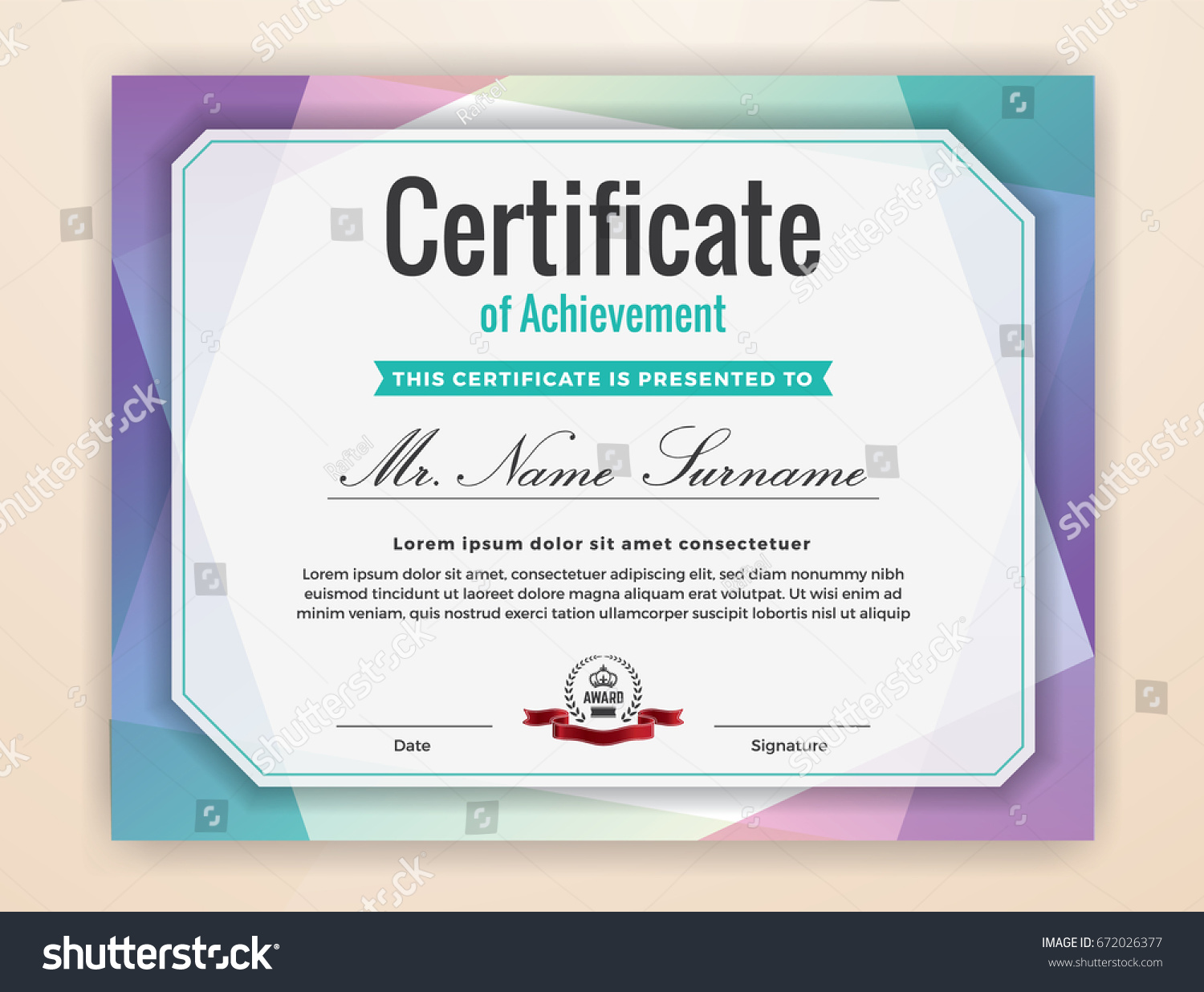 Multipurpose modern professional certificate template design stock multipurpose modern professional certificate template design for print colorful certificate of achievement background vector xflitez Choice Image