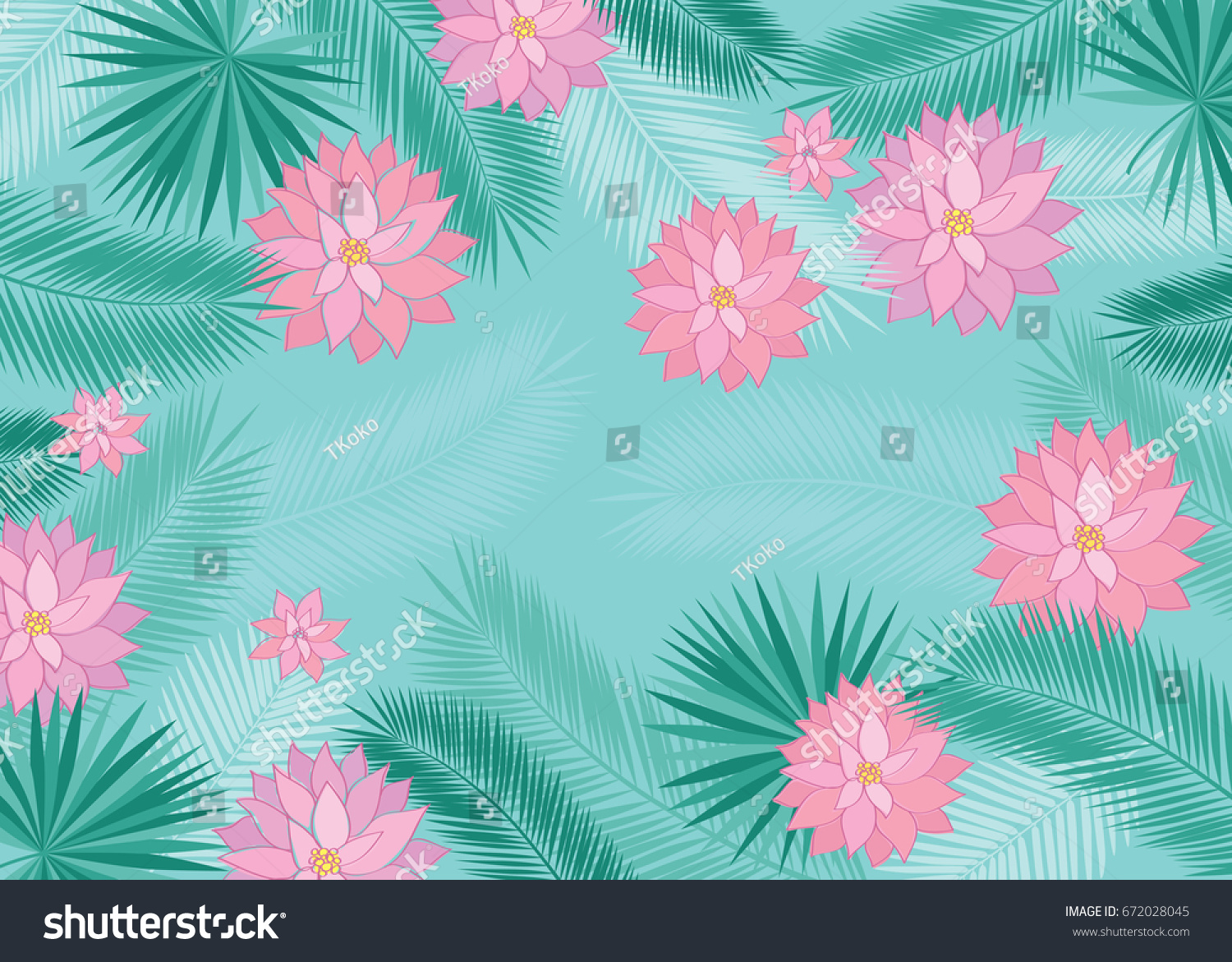 Summer Background Tropical Leaves Pink Flowers Stock Vector Royalty