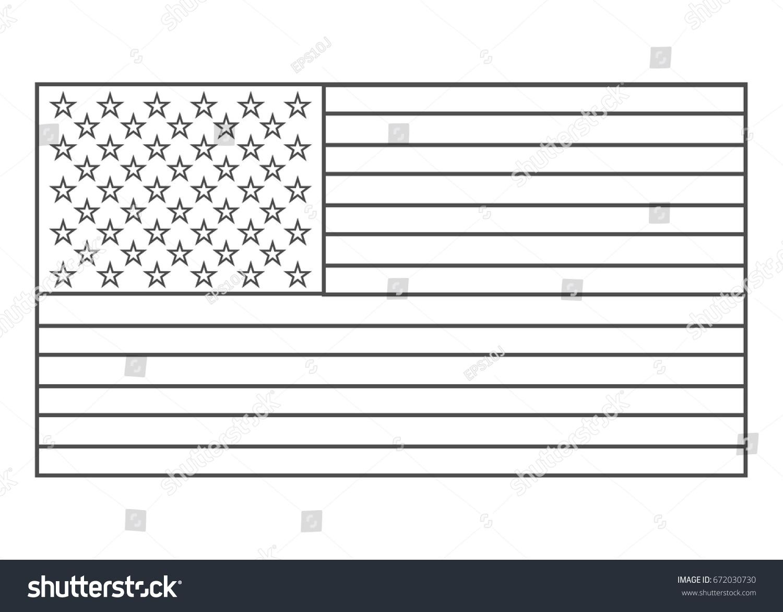 american flag outline vector eps10 usa flag outline