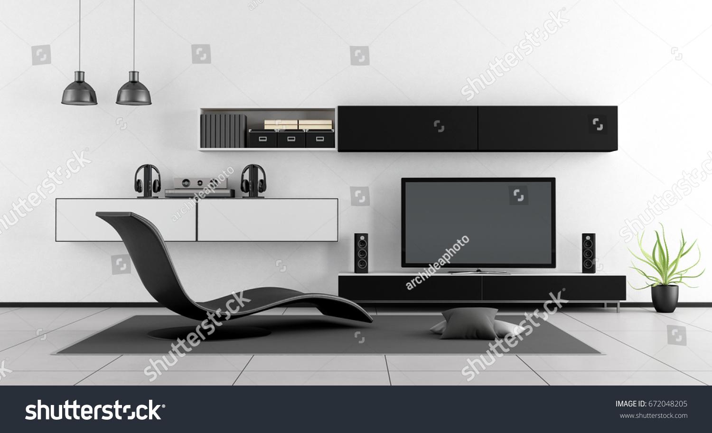 Black White Living Room Chaise Lounge Stock Illustration