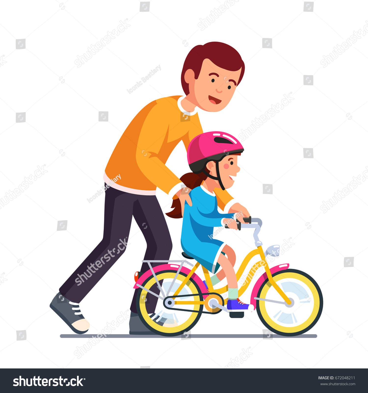 caring dad teaching daughter ride bike stock vector royalty free