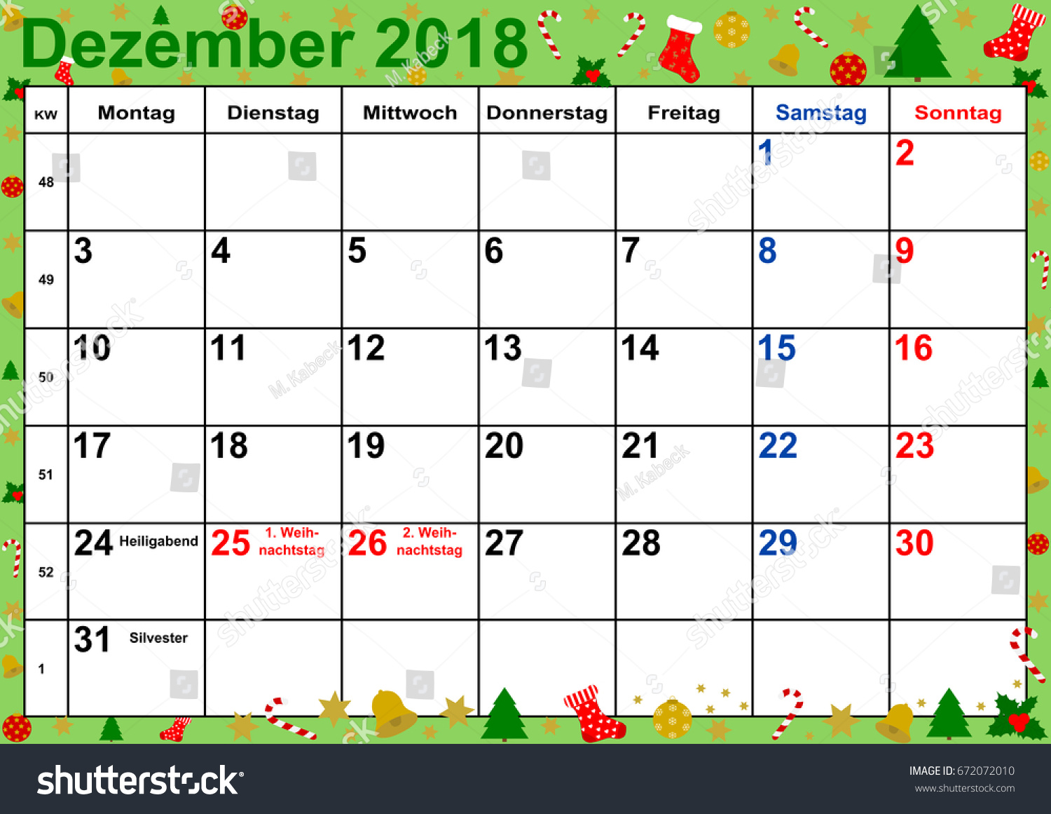 calendar 2018 month december with public holidays for germany on green background with christmas motifs