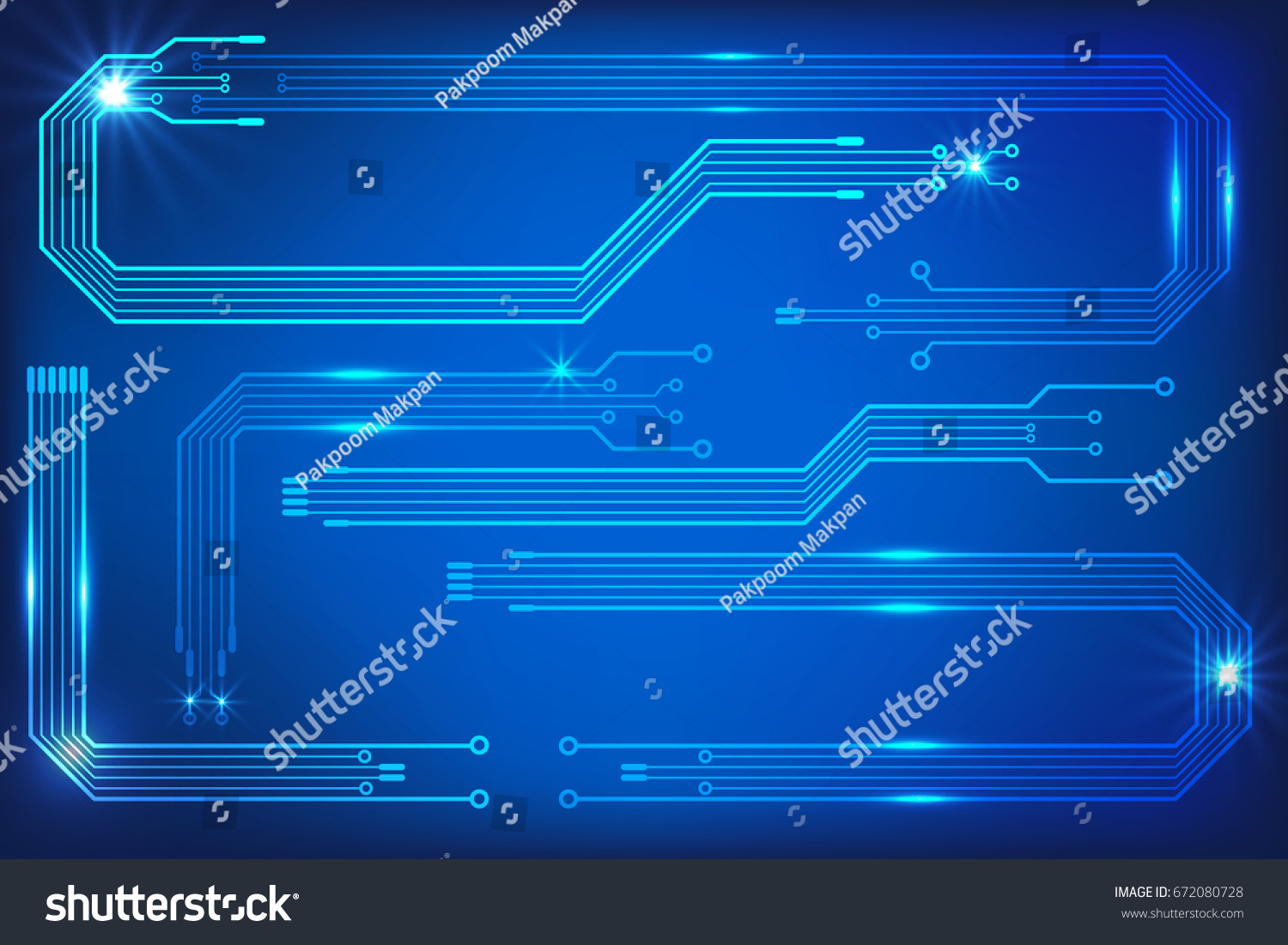 Circuit Board Hi Technology On Blue Stock Vector Royalty Free Trace Screen Background Abstract Pcb Pattern Communication Idea