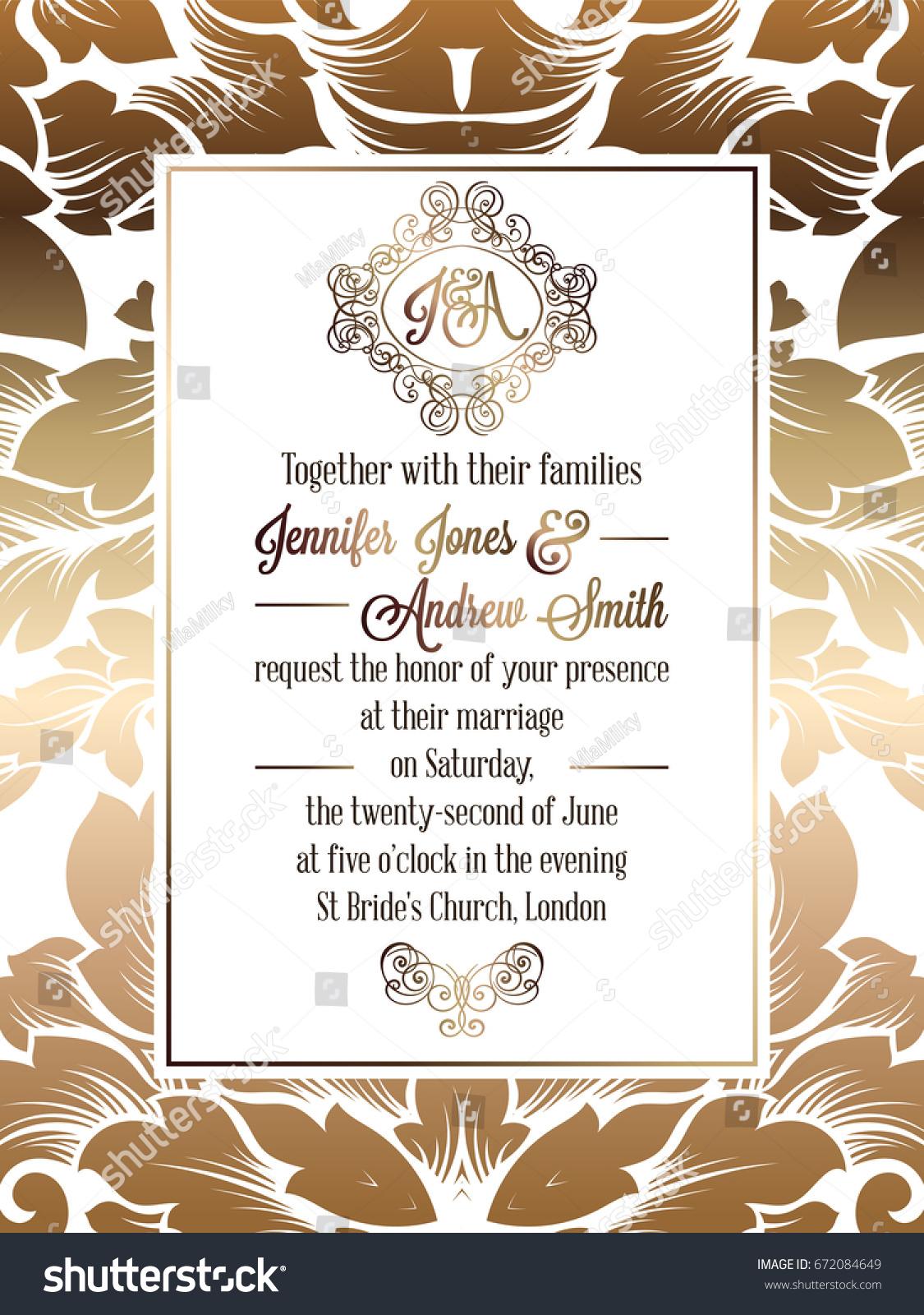 Vintage Baroque Style Wedding Invitation Card Stock Vector 672084649 ...