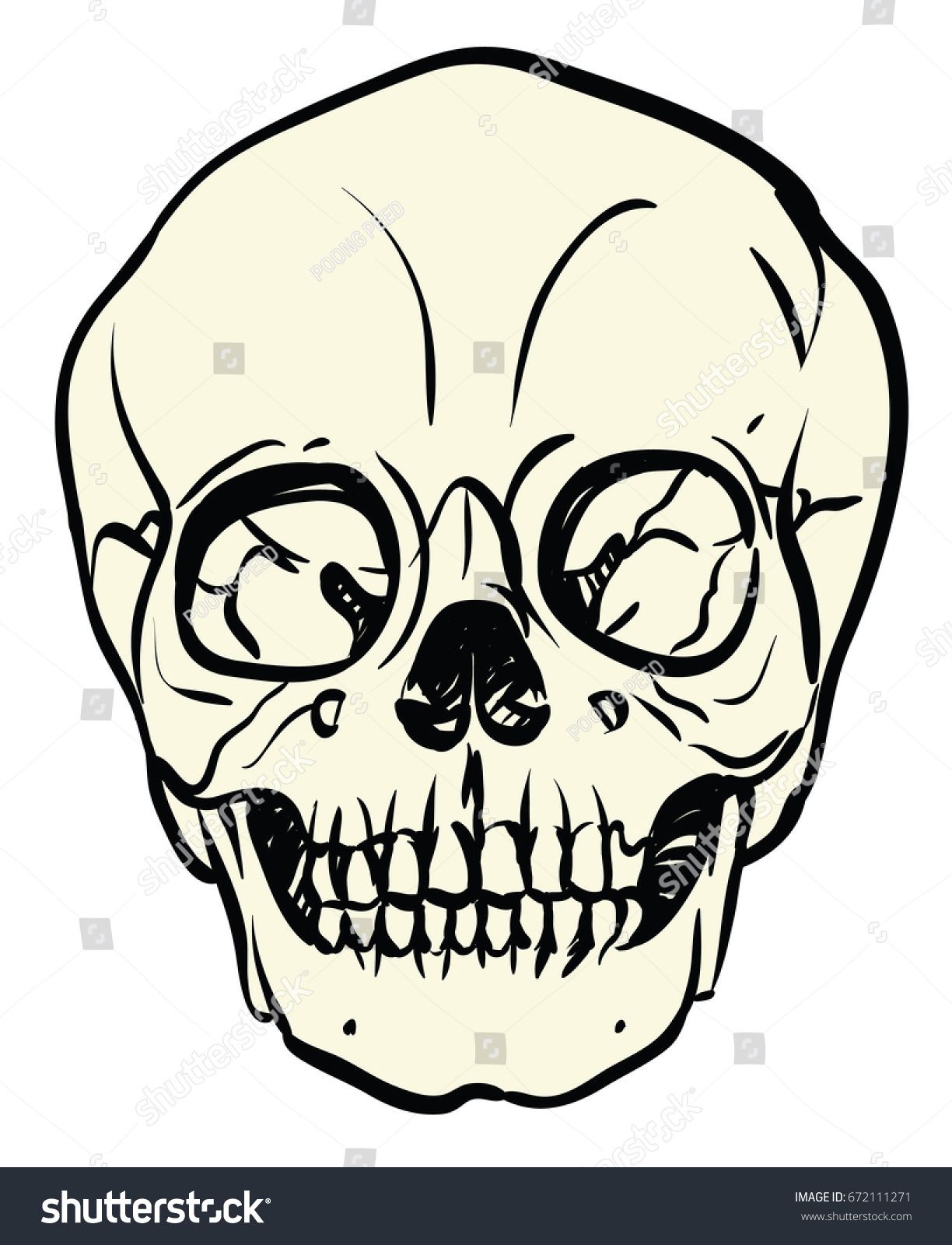 Baby Skull White Cream Color Freehand Stock Vector Royalty Free