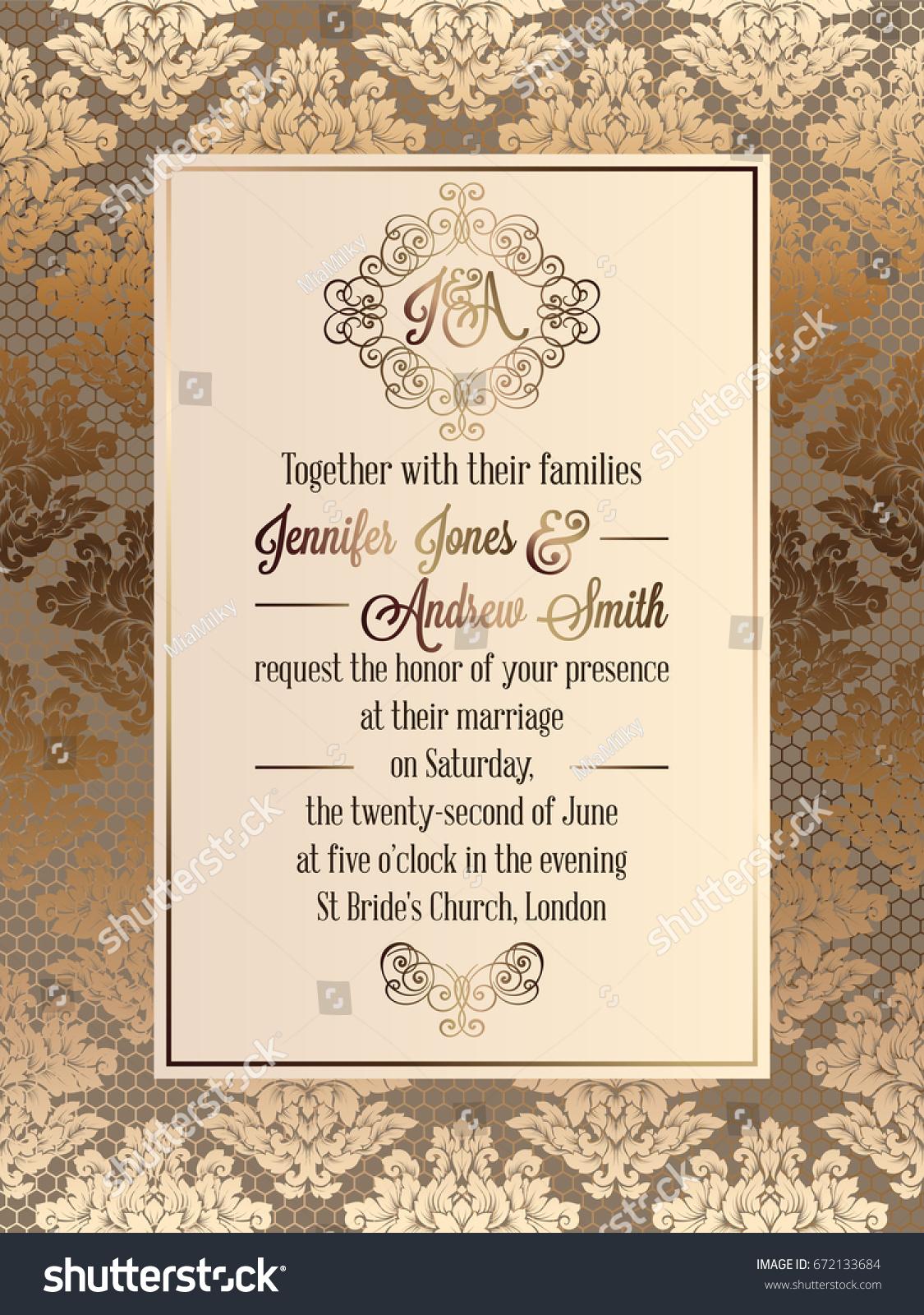 Vintage baroque style wedding invitation card stock vector vintage baroque style wedding invitation card stock vector 672133684 shutterstock stopboris Choice Image