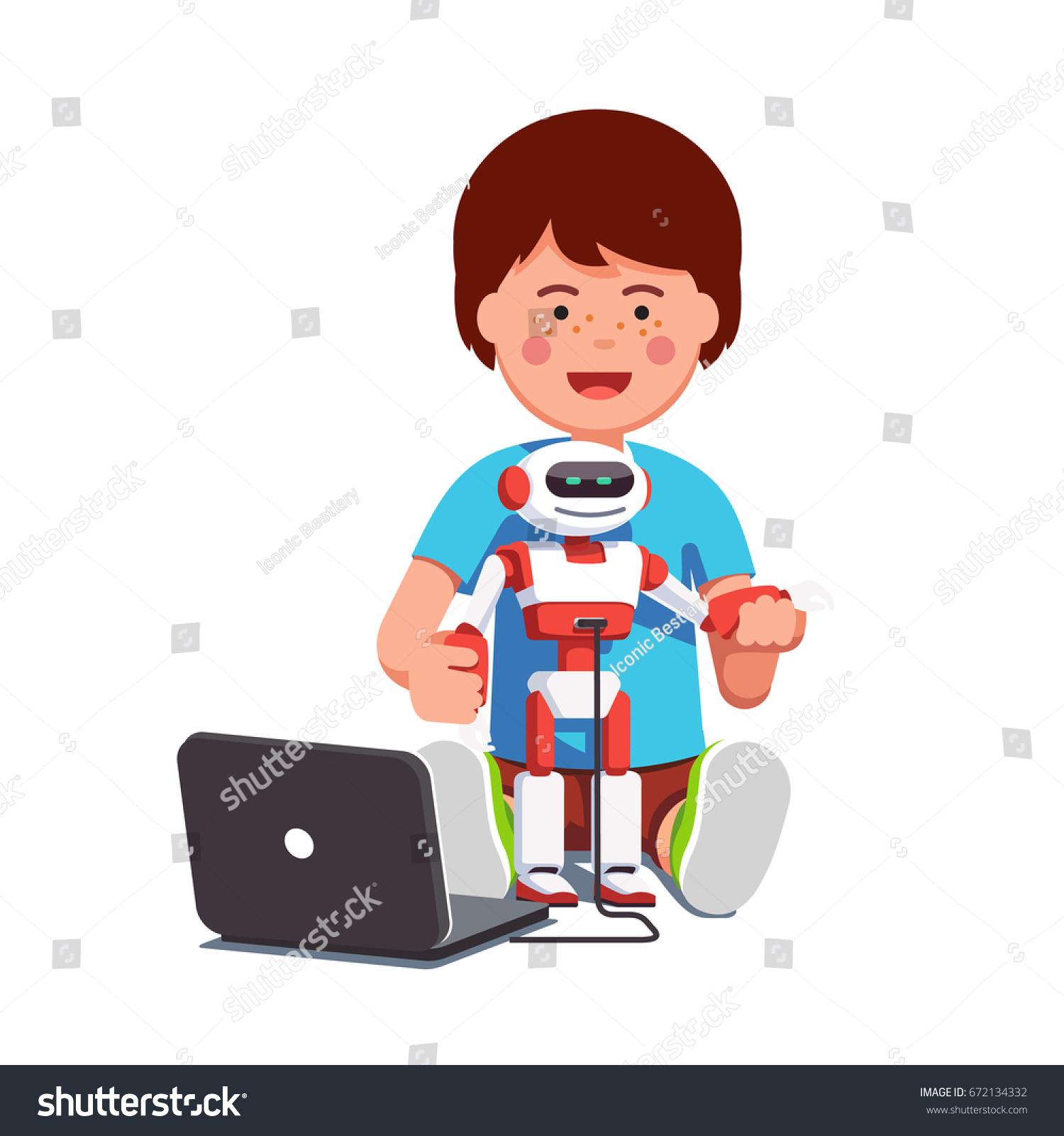 Boy Setting Up Configuring Programming Modern Stock Vector Royalty