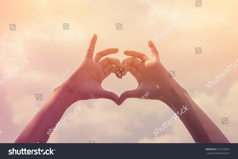 Girl Hand Heart Form Love Sign Stock Photo 672153247 - Shutterstock