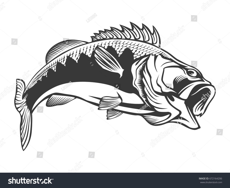 fishing logo bass fish rod club stock vector 672164206
