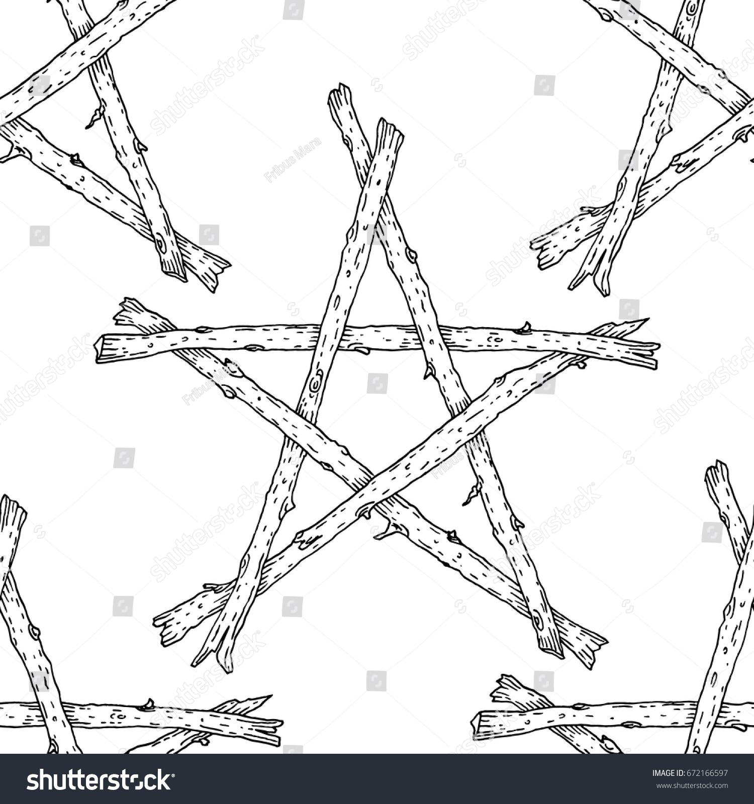 Witchcraft wicca sticks pentagram seamless pattern stock vector witchcraft wicca sticks pentagram seamless pattern hand drawn magic occult star symbol vector background buycottarizona Choice Image