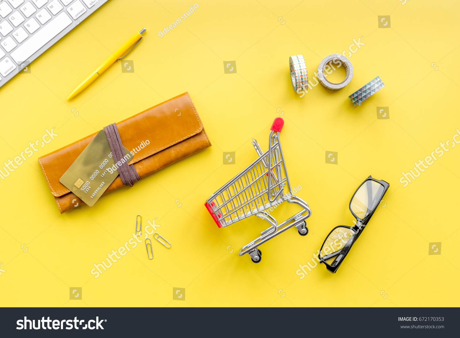 Shopping Online Store Bank Card Nearby Stock Photo Edit Now Circuitry Of An Electronic Calculator Royalty Free Photography Purse And Cart On Yellow