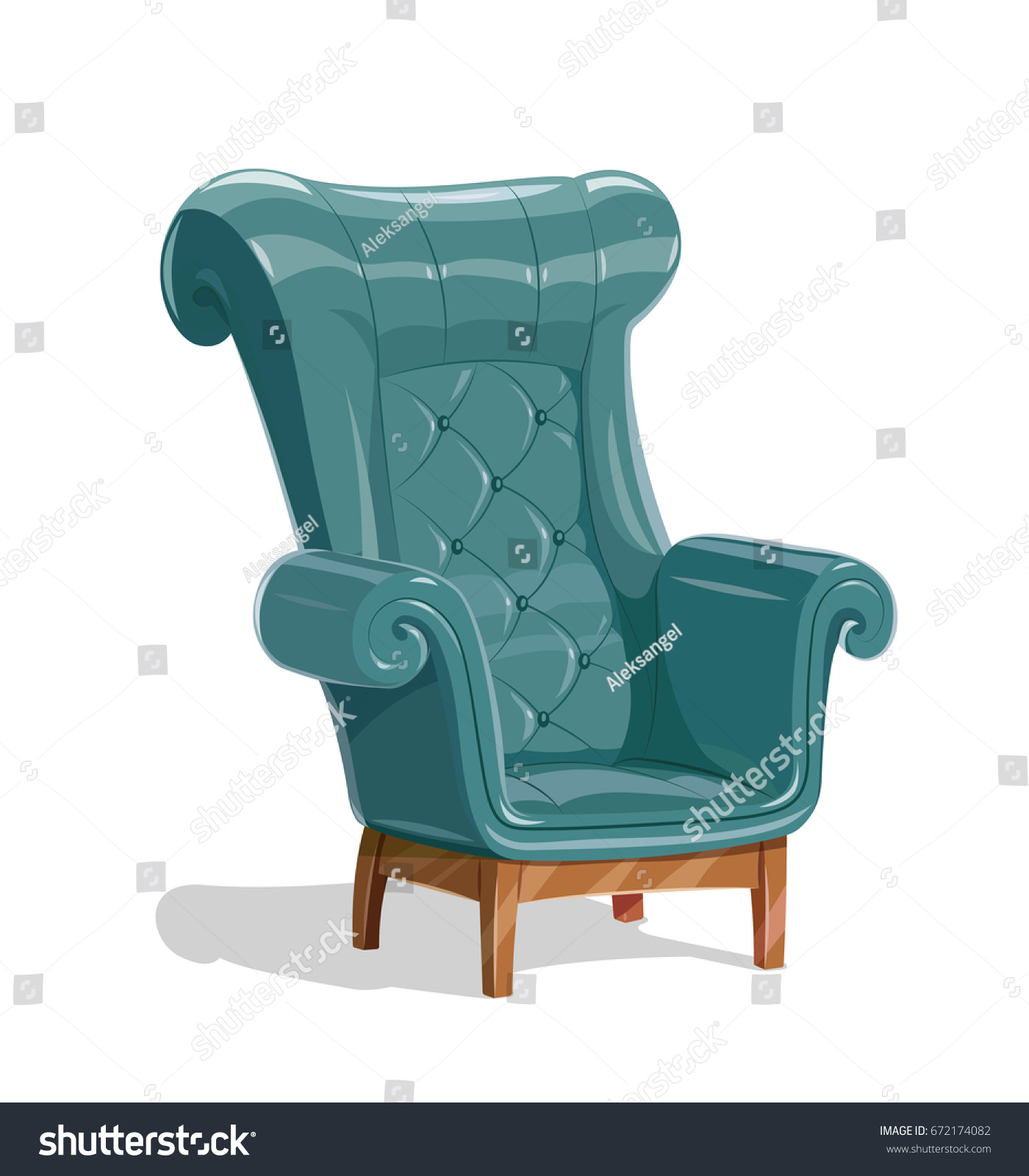 Big Leather Armchair. Vintage Comfortable Soft Furniture For Relaxation.  Isolated White Background. Vector