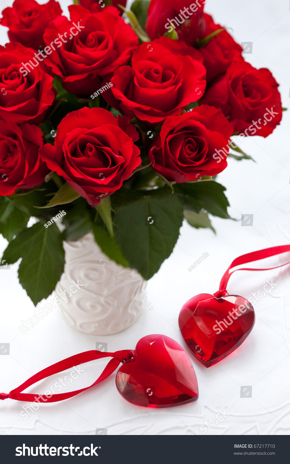 red roses vase hearts valentines day stock photo 67217710