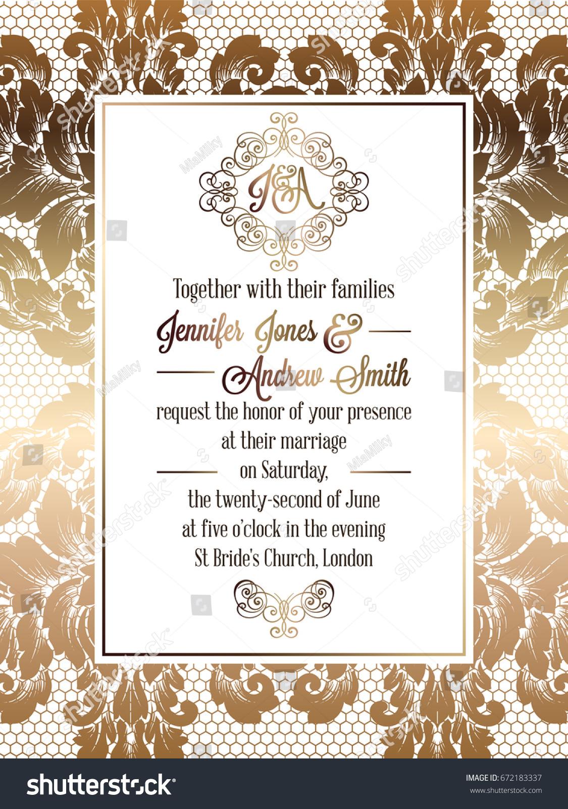 Vintage baroque style wedding invitation card stock vector vintage baroque style wedding invitation card stock vector 672183337 shutterstock stopboris Choice Image