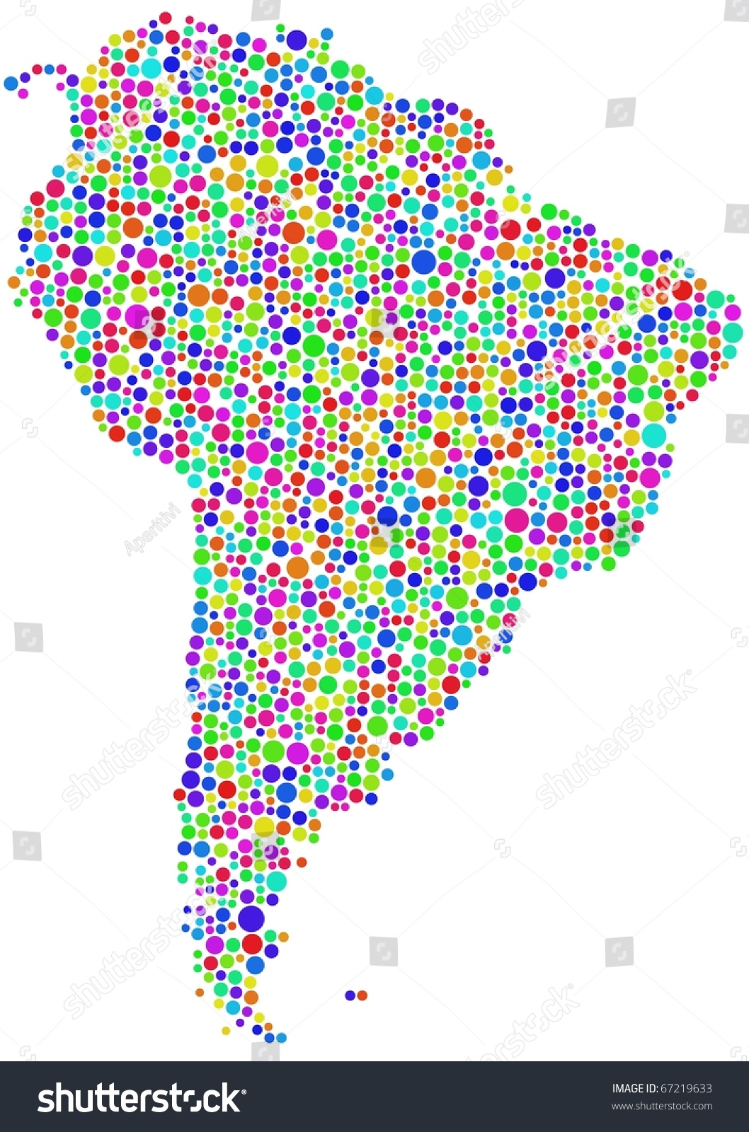 Map Latin America Mosaic Harlequin Bubbles Stock Vector Royalty