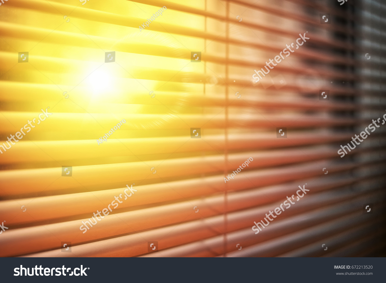 Sun Rise Behind Window Blinds Curtains Stock Photo Edit Now 672213520