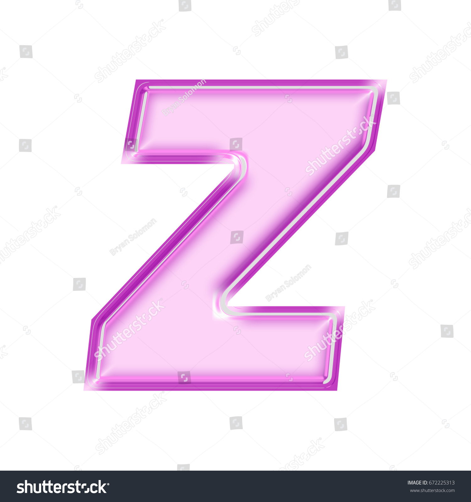 Shiny pink and purple bold style uppercase or capital letter Z in a ...
