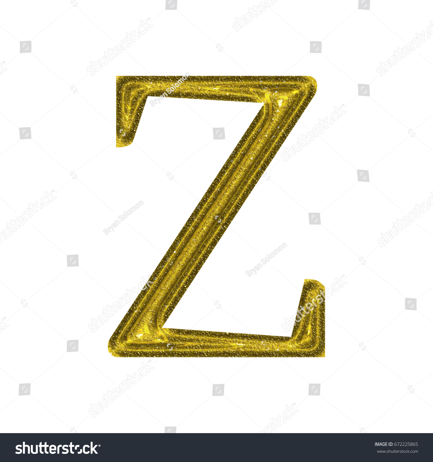 Glittery Yellow Gold Color Uppercase Or Capital Letter Z In A 3d
