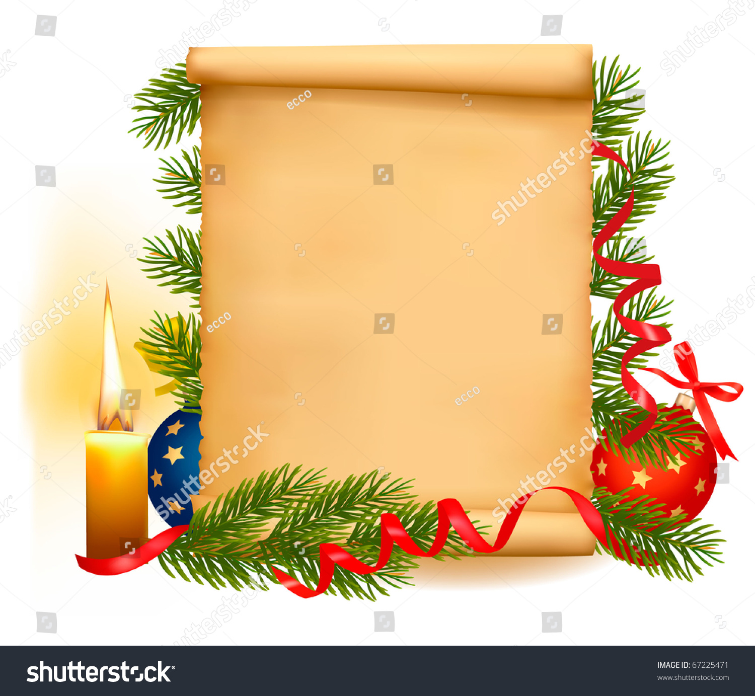 Christmas Decorations On Old Paper Christmas Stock Vector (Royalty ...