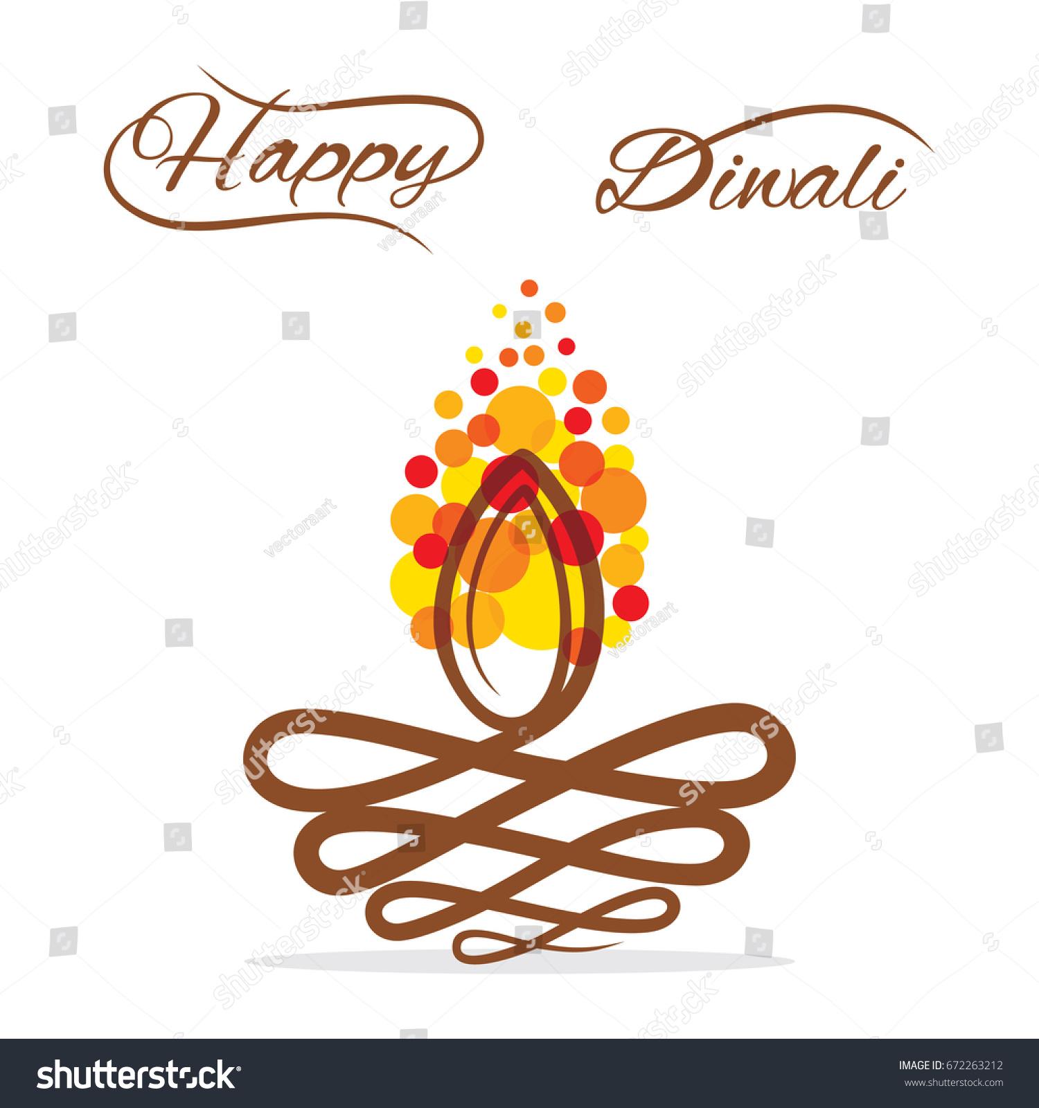 Abstract Shape Diwali Diya Design Happy Stock Vector 2018