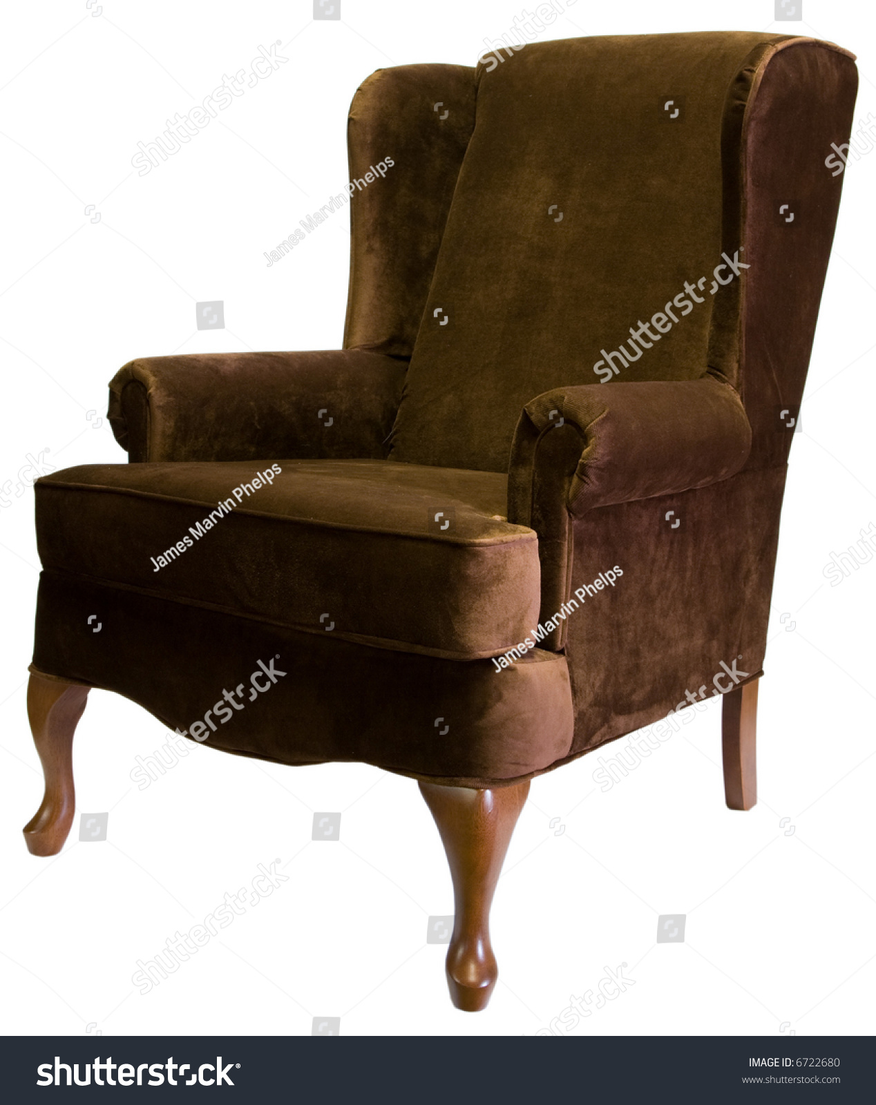 Brown Queen Anne Style Wing Chair Stock Shutterstock