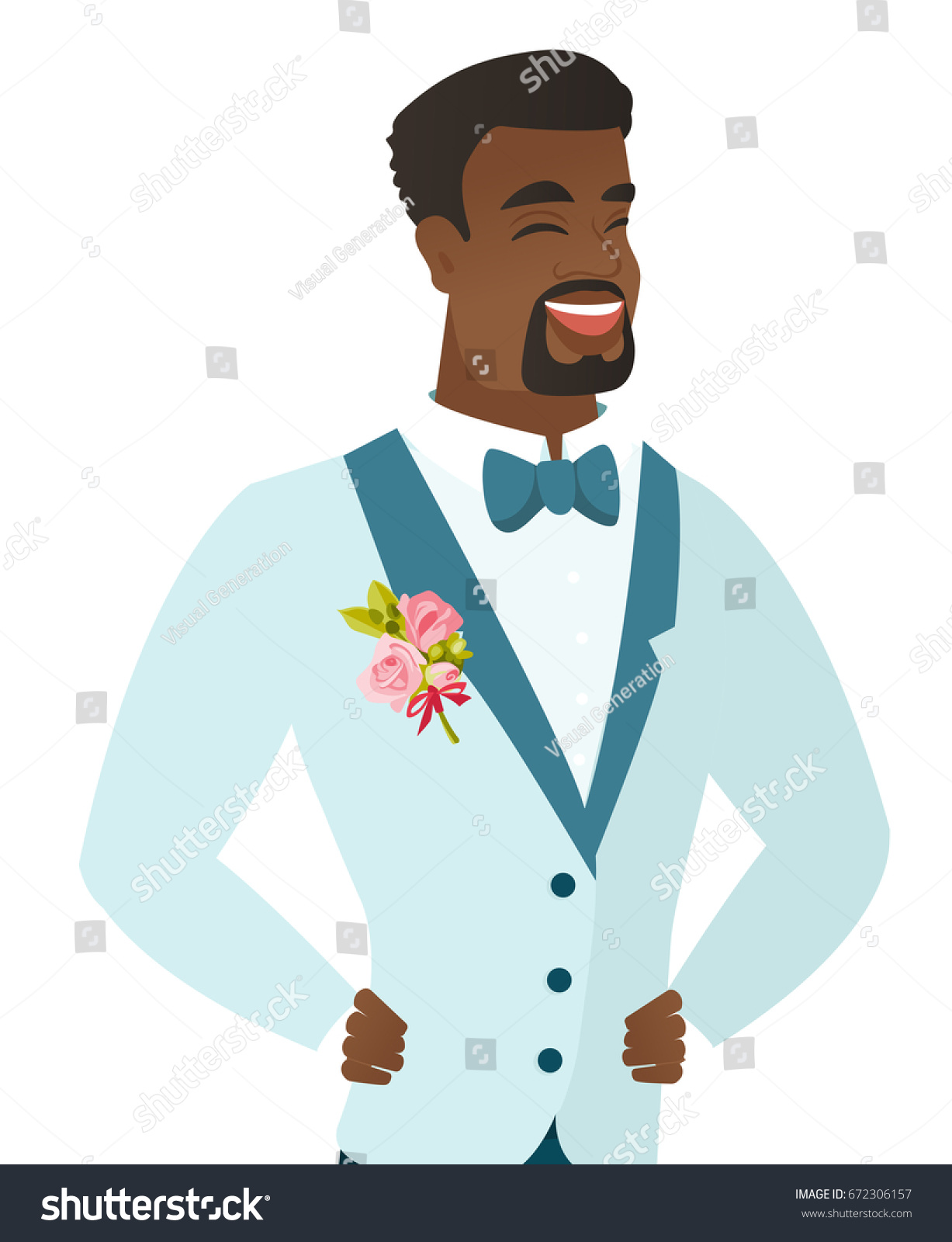 Young Africanamerican Groom Wedding Suit Laughing Stock Vector (2018 ...