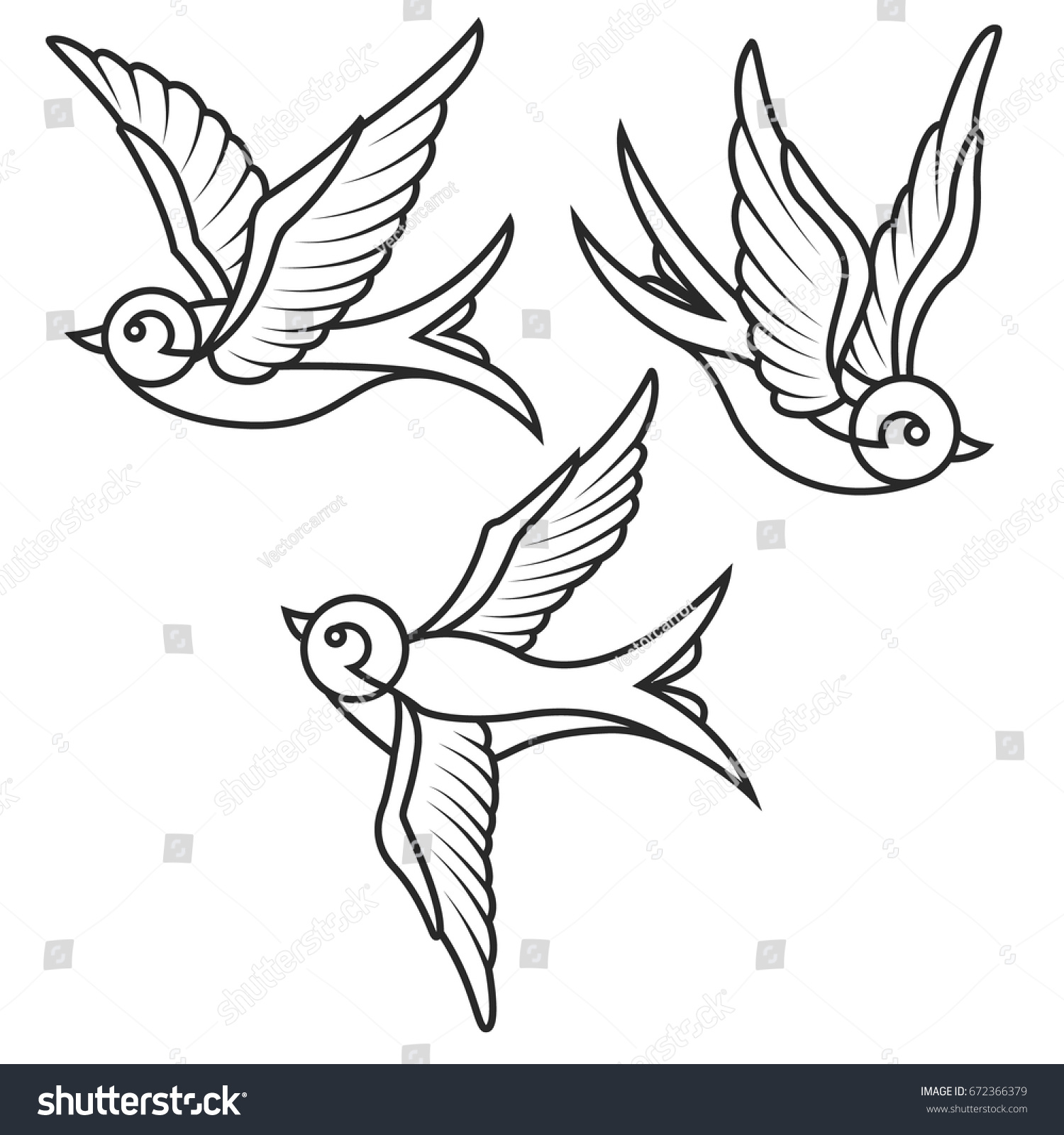 set swallow tattoo templates isolated on stock vector 672366379 shutterstock. Black Bedroom Furniture Sets. Home Design Ideas