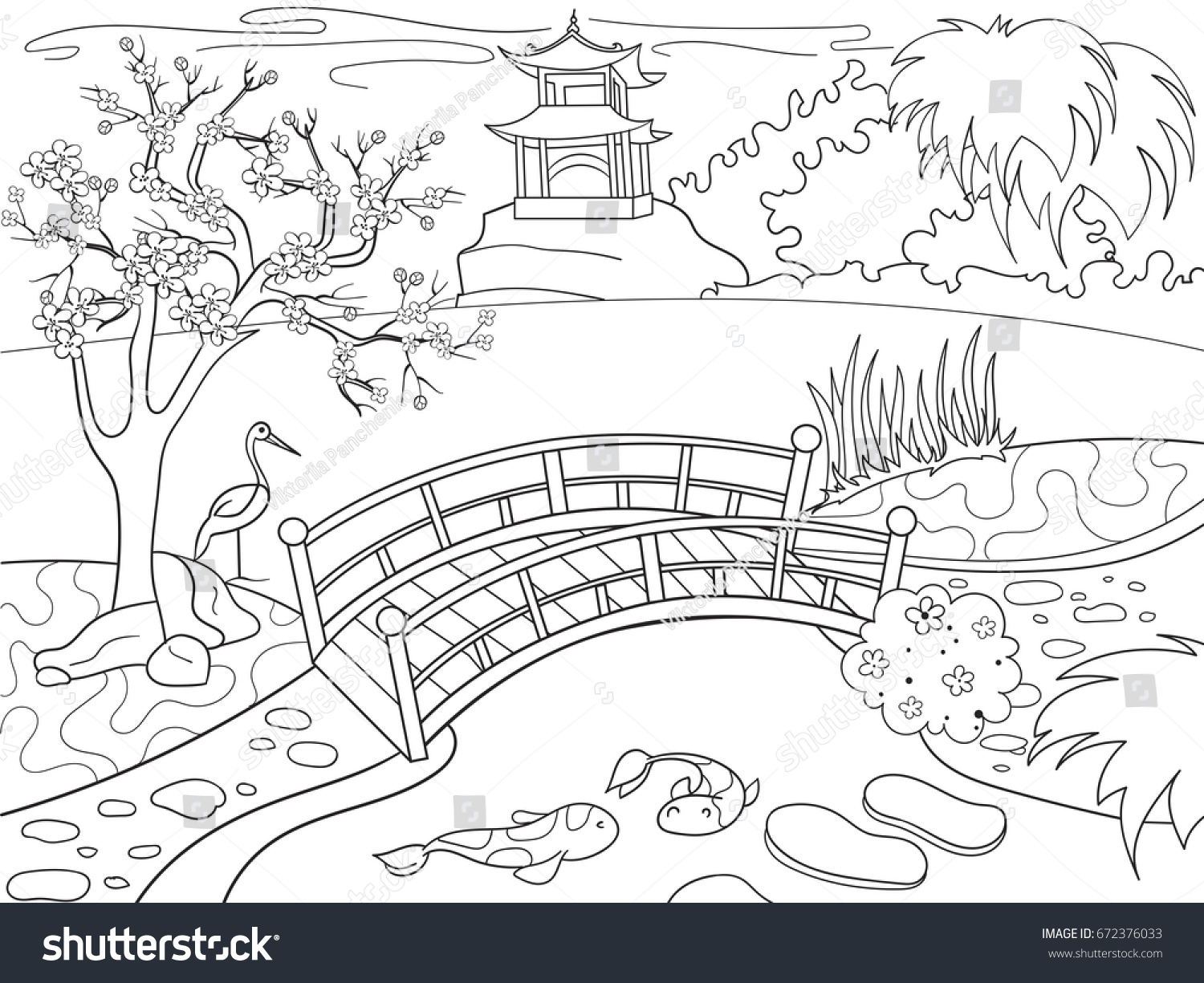 nature japan coloring book children cartoon stock vector 672376033