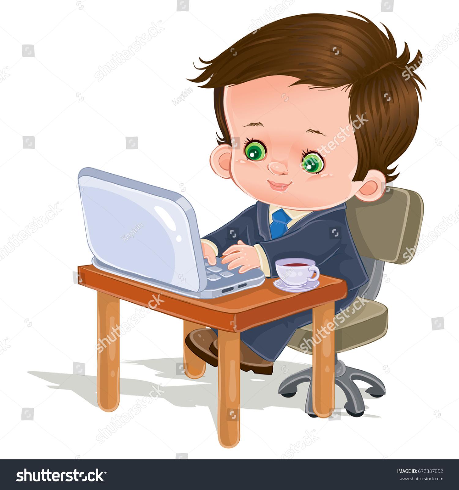 Boy Programmer Coding Kid Doing Computer Stock Vektorgrafik