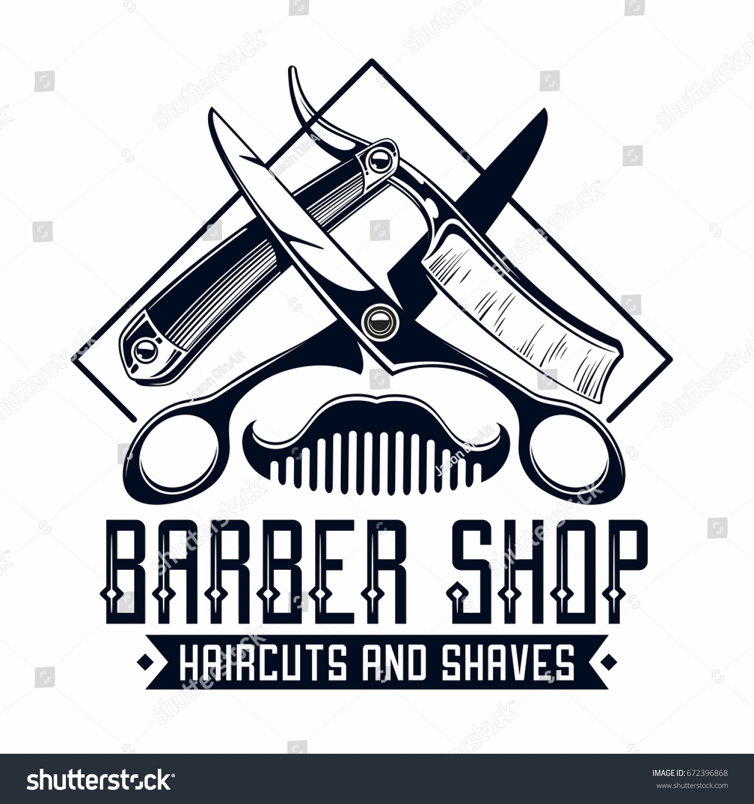 Barber Shop Logo Stock Vector 672396868 Shutterstock