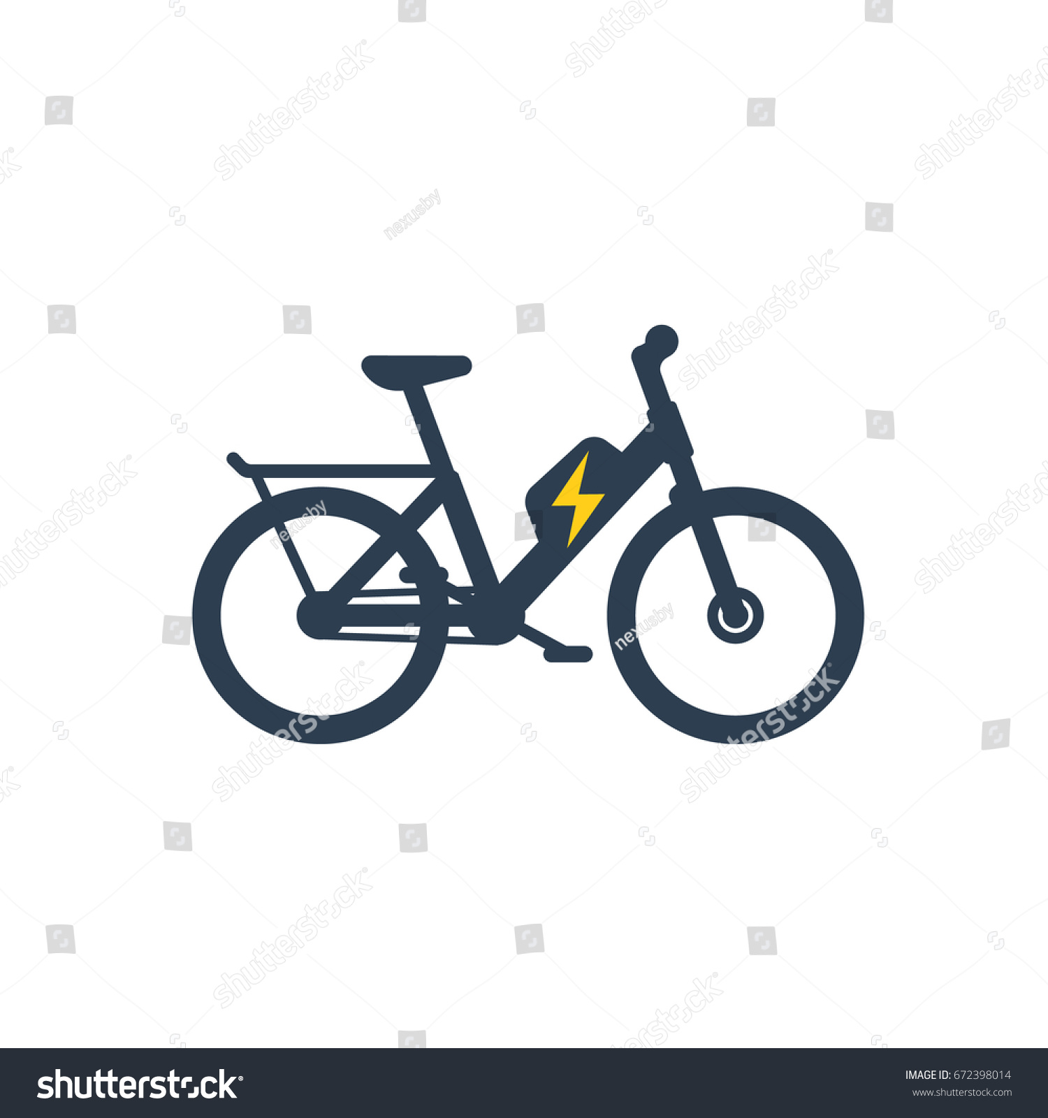 Electric Bike Electro Bicycle Icon Stock Vector 672398014