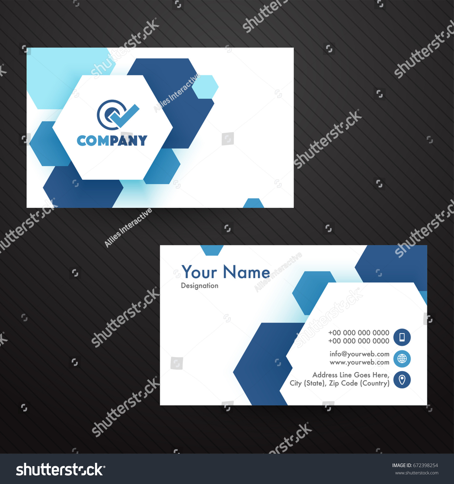 Horizontal business card visiting card name stock vector 672398254 horizontal business card visiting card or name card templates set with blue abstract hexagonal shapes magicingreecefo Images