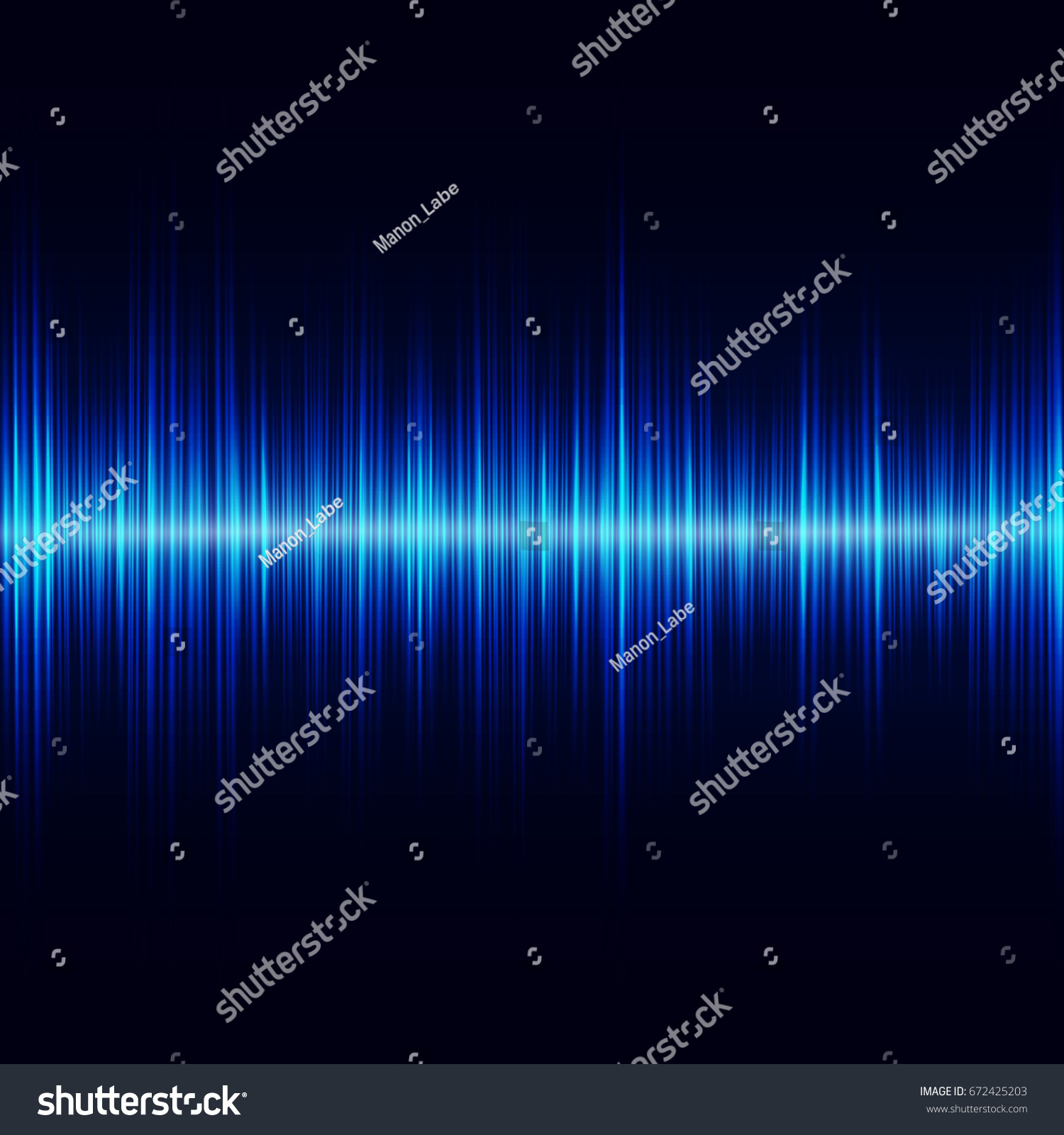 Blue Oscillation Light Effect Sound Equalizer Stock Vector