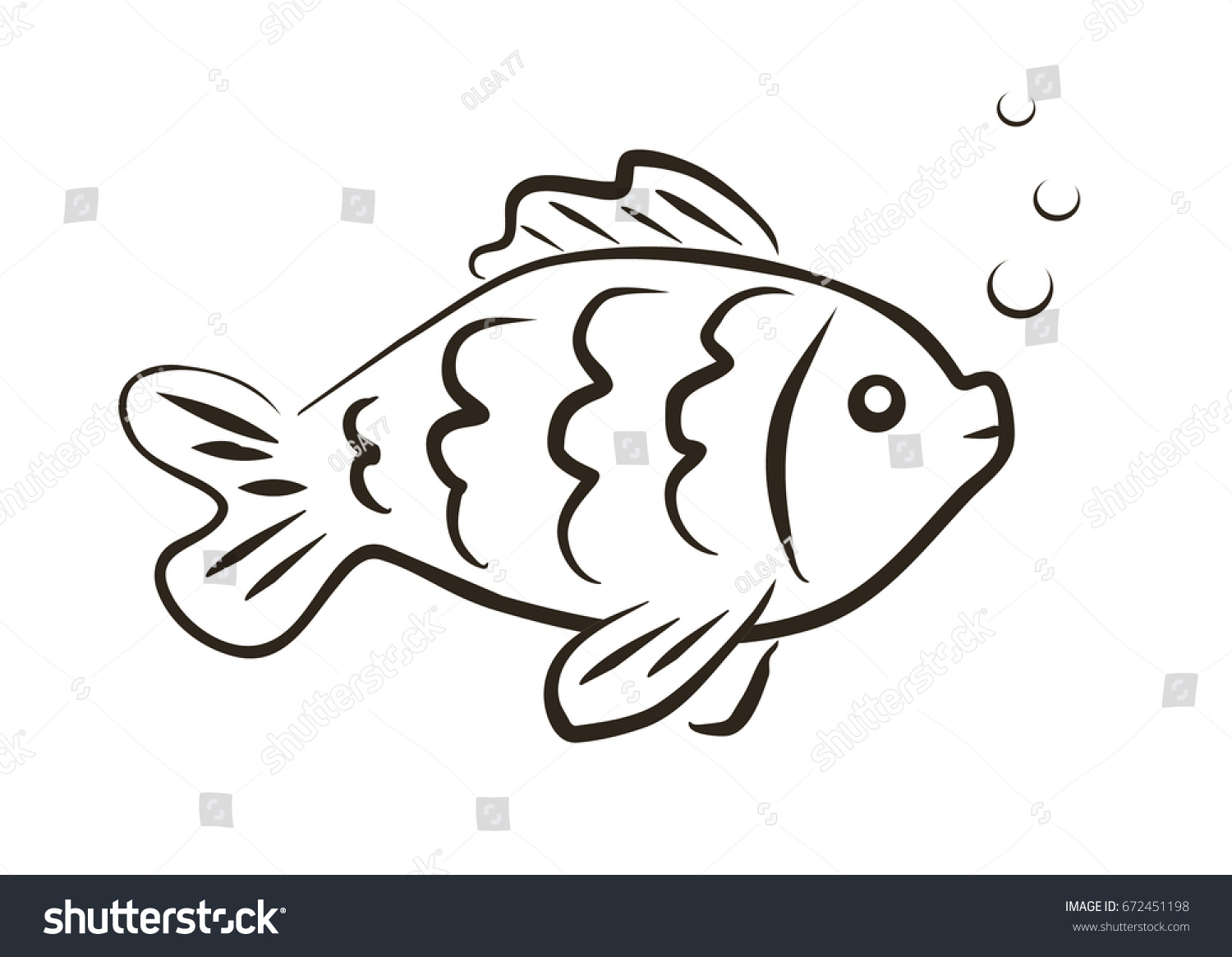 - Vector Drawn Fish Outline Illustrationdecorative Fish Stock Vector