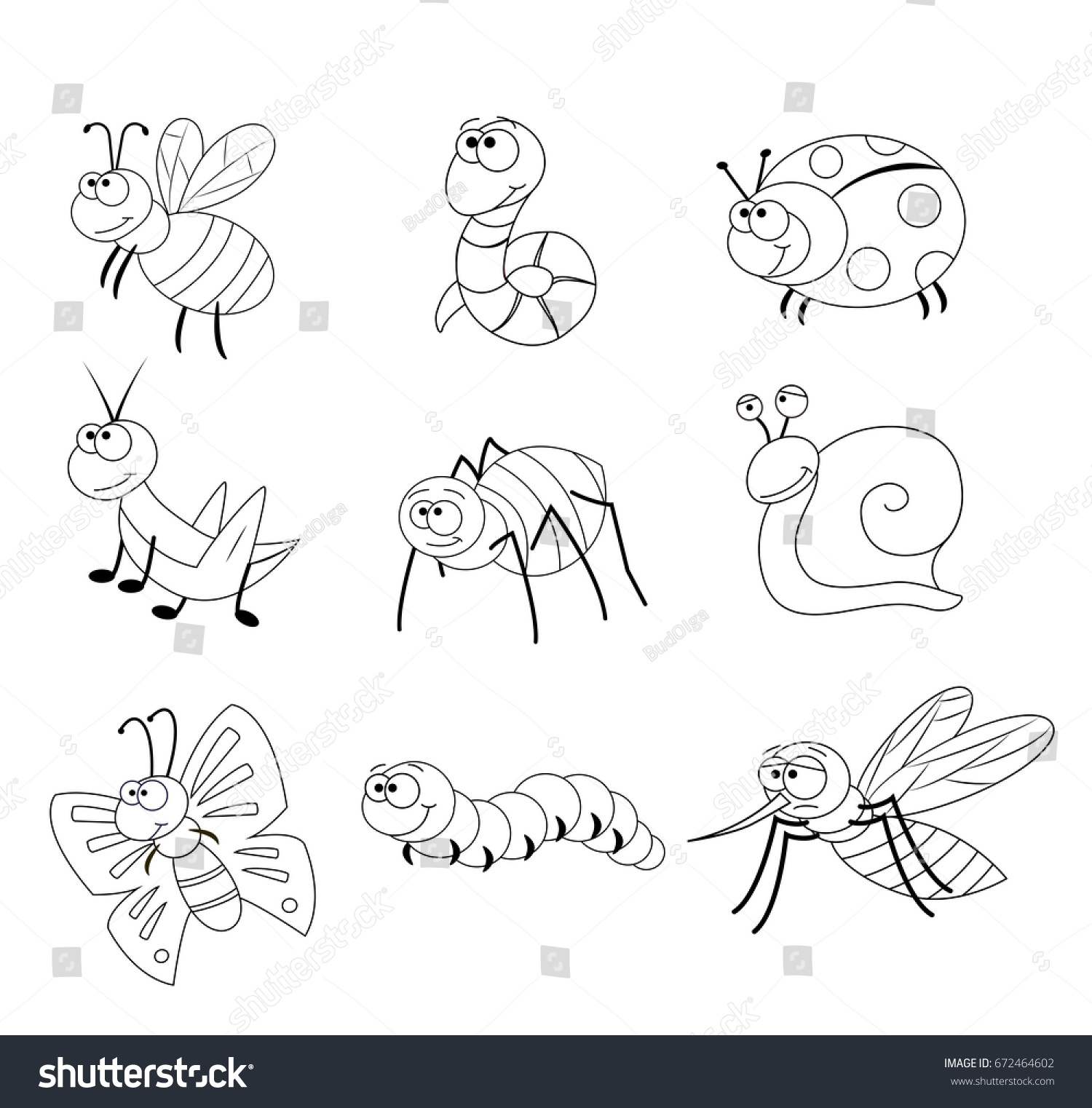 coloring page preschool children set different stock vector