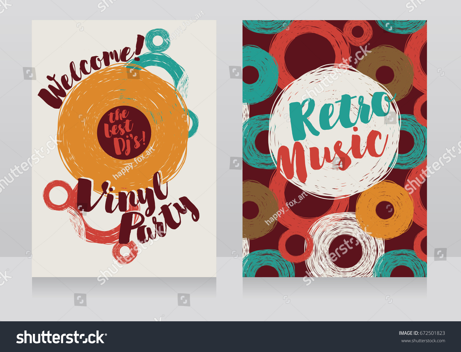 Two Banners Retro Vinyl Party Disco Stock Vector 672501823 ...