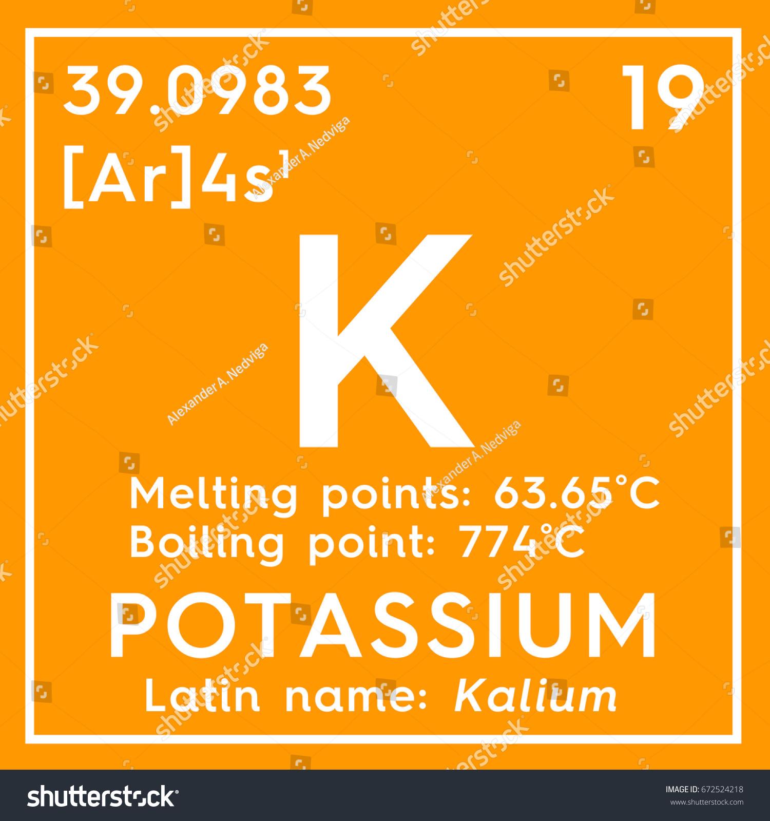 Potassium kalium alkali metals chemical element stock illustration chemical element of mendeleevs periodic table potassium in gamestrikefo Choice Image