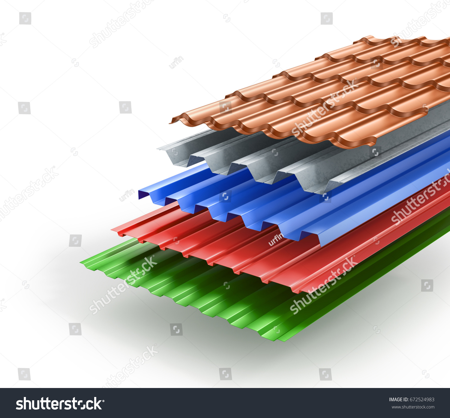 Stack Of Different Types Metal Roof Coating. 3d Illustration
