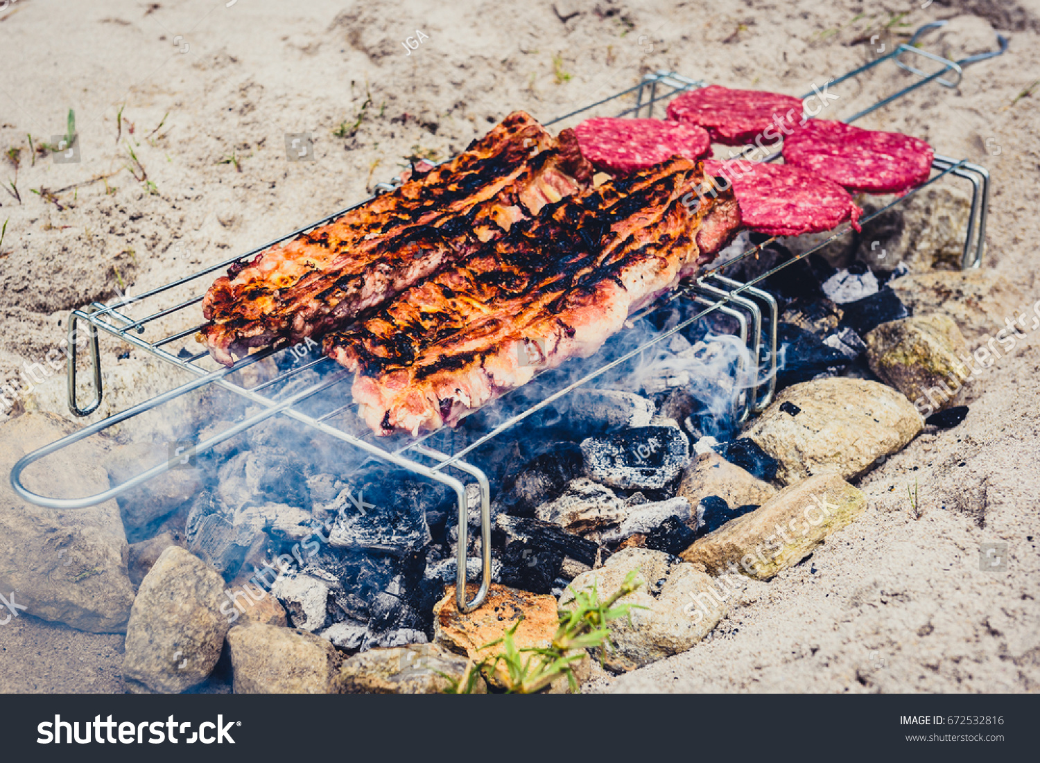 Pork Ribs Burgers On Homemade Improvised Stock Photo Edit Now 672532816