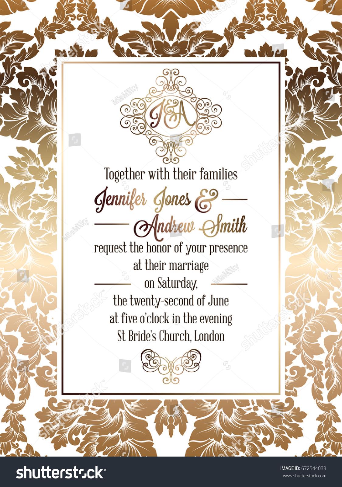 Vintage Baroque Style Wedding Invitation Card Stock Vector 672544033 ...