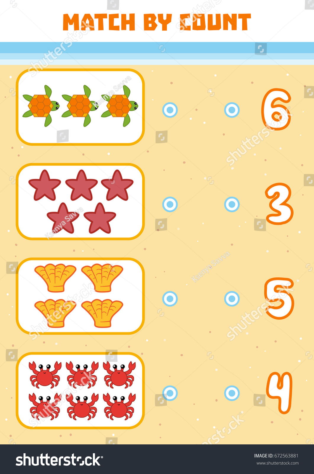 counting game preschool children educational mathematical stock