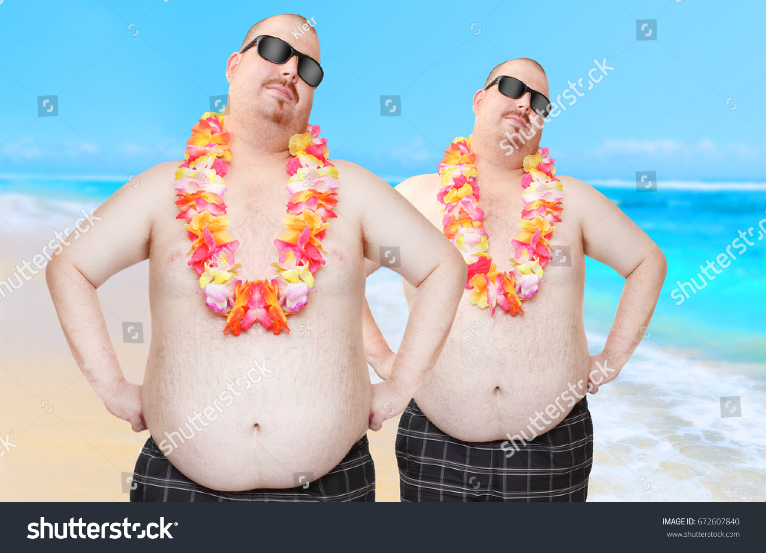 Two obese hipsters hawaiian flowers enjoying stock photo edit now two obese hipsters with hawaiian flowers enjoying summer on tropical beach only one same man izmirmasajfo