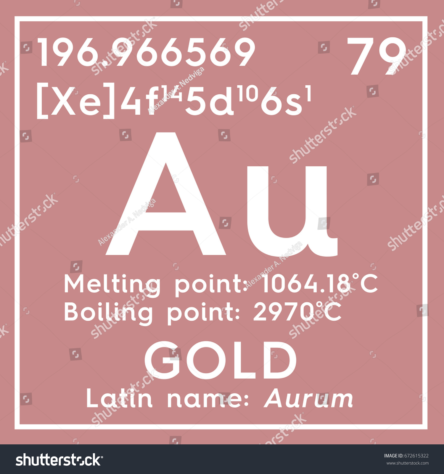 Gold Aurum Transition Metals Chemical Element Stock Illustration