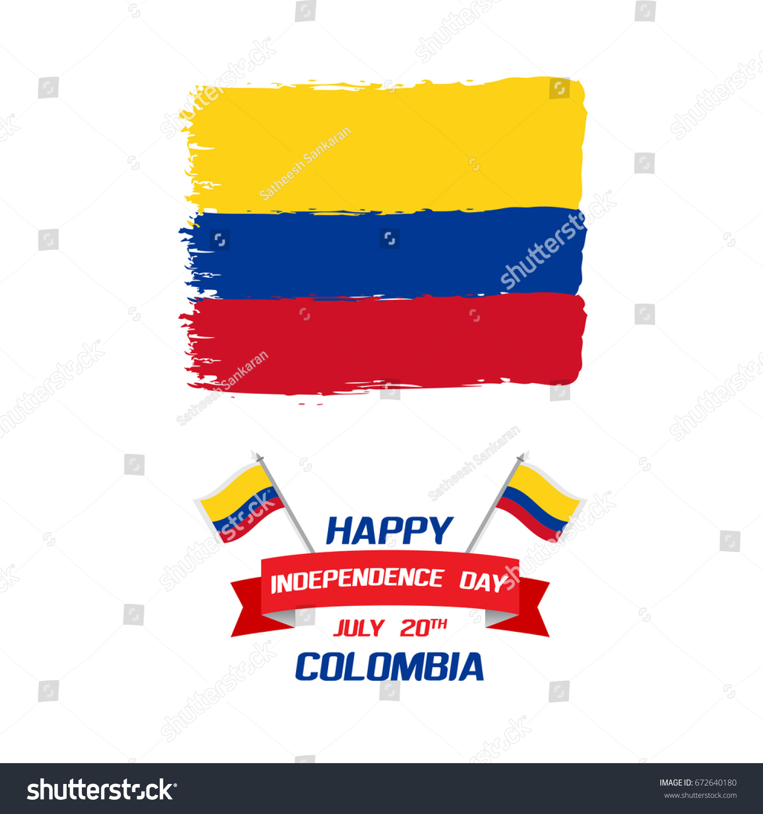 Colombian Independence Day Greetings Vector Illustration Stock
